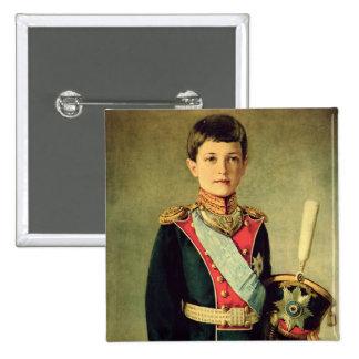 Portrait of Tsarevitch Alexei Nikolaevich; 2 Inch Square Button