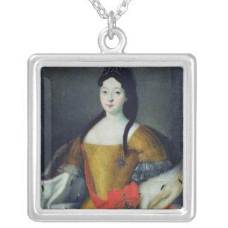 Portrait of Tsarevna Anna Petrovna, 1740s Silver Plated Necklace