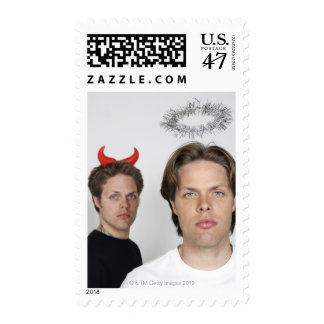 Portrait of Twin Brothers Dressed Like Devil and 2 Postage