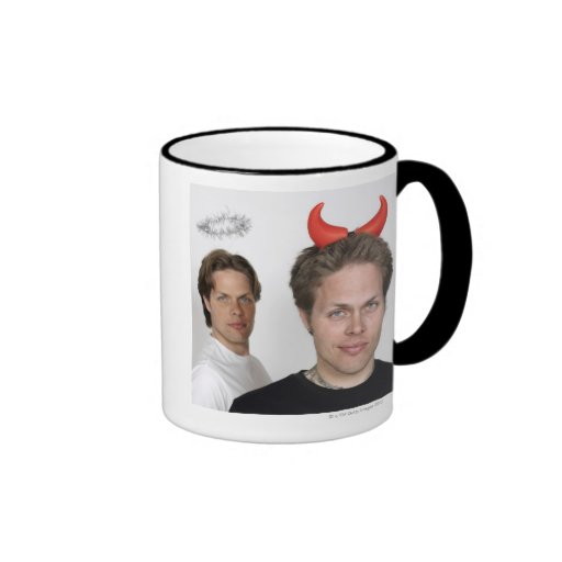 Portrait of Twin Brothers Dressed Like Devil and Coffee Mugs
