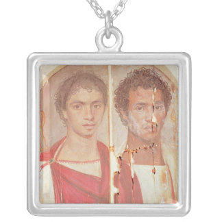 Portrait of two brothers silver plated necklace