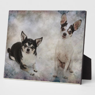 Portrait of two chihuahua's plaque
