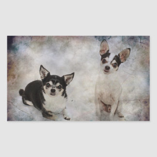 Portrait of two chihuahua's rectangular sticker