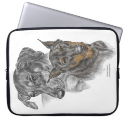Portrait of Two Dobermans Computer Sleeve