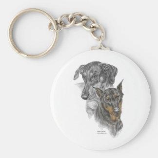 Portrait of Two Dobermans Key Chain