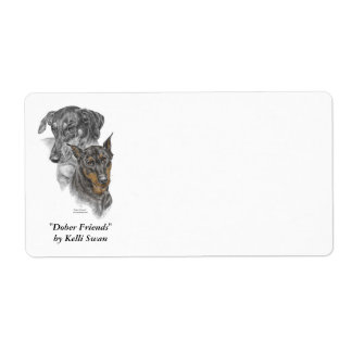 Portrait of Two Dobermans Shipping Label