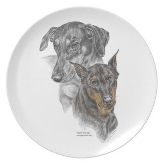 Portrait of Two Dobermans Plate