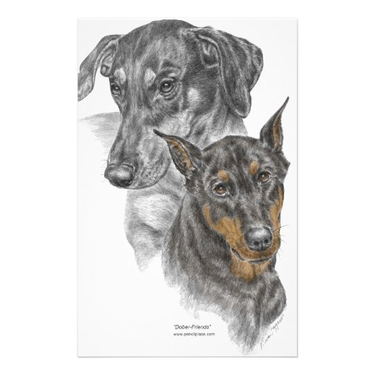 Portrait of Two Dobermans Stationery