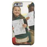 Portrait of two preschool girls with A plus and iPhone 6 Case