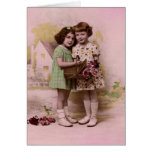 Portrait of Two Young French Girls Greeting Card