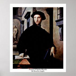 Portrait Of Ugolino Martelli. By Bronzino Angelo Poster