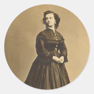 Portrait of Union Spy Pauline Cushman Classic Round Sticker