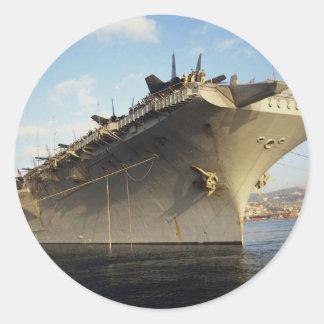 Portrait of USS Forrestal CV-59 in port visit n Round Stickers