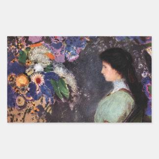 Portrait of Violet Heyman by Bertrand-Jean Redon Rectangle Stickers