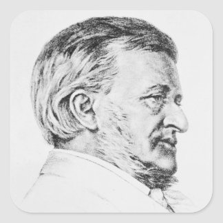 Portrait of Wagner, 19th century Square Sticker