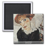 Portrait Of Wally By Schiele Egon 2 Inch Square Magnet
