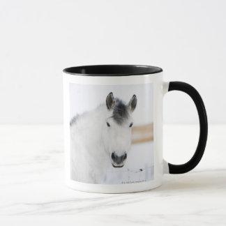 portrait of white horse mug