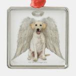 Portrait of white Labrador retriever wearing Square Metal Christmas Ornament