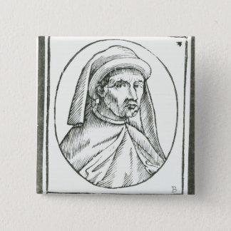 Portrait of William Caxton  and his Printer's Pinback Button