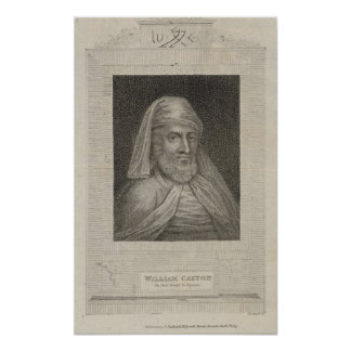 Portrait of William Caxton  and his Printer's Poster