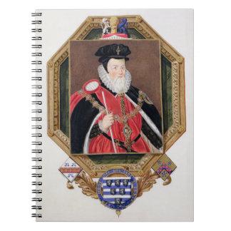 Portrait of William Cecil (1520-98) 1st Baron Burg Spiral Notebook