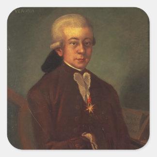 Portrait of Wolfgang Amadeus Mozart 2 Square Sticker