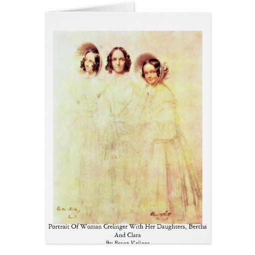 Portrait Of Woman Crelinger With Her Daughters Greeting Card
