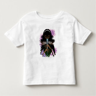 Portrait of woman holding microphone shirt
