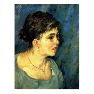 Portrait of Woman in Blue by Vincent van Gogh Postcard