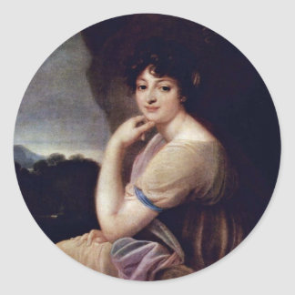 Portrait Of Yekaterina Bakunina By Grassi Joseph M Round Stickers