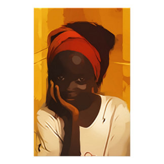 Portrait of Young african girl Stationery Design