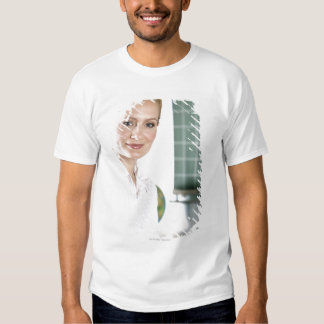 portrait of young female teacher in classroom t-shirt