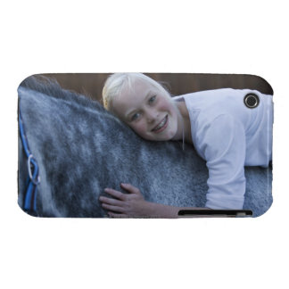 portrait of young girl on white horse iPhone 3 case