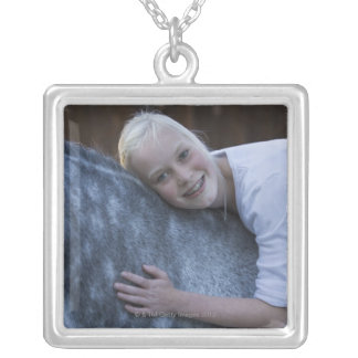 portrait of young girl on white horse silver plated necklace
