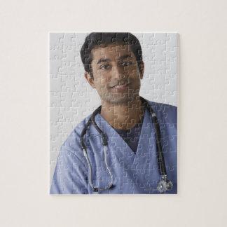 Portrait of young male nurse, studio shot jigsaw puzzle