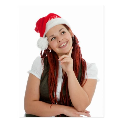 Portrait of young modern christmas girl. post card