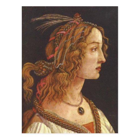 Portrait of young Simonetta Vespucci Postcard