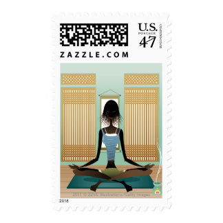 Portrait of young woman doing yoga postage stamp