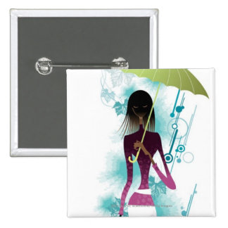 Portrait of young woman holding purse and umbrella button