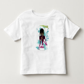 Portrait of young woman holding purse and umbrella tee shirt