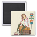 Portrait of young woman sitting on suitcase 2 inch square magnet