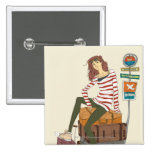 Portrait of young woman sitting on suitcase pinback button