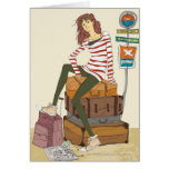 Portrait of young woman sitting on suitcase greeting card