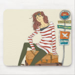 Portrait of young woman sitting on suitcase mouse pads