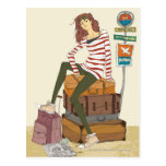 Portrait of young woman sitting on suitcase postcards
