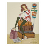 Portrait of young woman sitting on suitcase poster