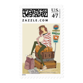 Portrait of young woman sitting on suitcase stamp