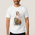 Portrait of young woman sitting on suitcase t shirt