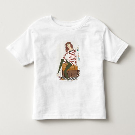 Portrait of young woman sitting on suitcase toddler t-shirt