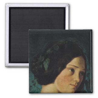 Portrait of Zelie Courbet, c.1842 2 Inch Square Magnet